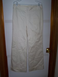 Banana Republic 8 Off White Low Rise Cuffed Lined Dress New Flare Pants Cream
