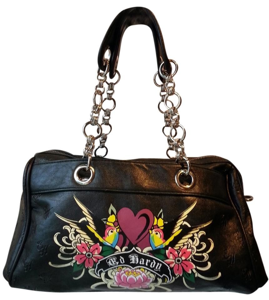 66def520f3 Ed Hardy Hearts and Flowers Black Faux Leather Satchel - Tradesy