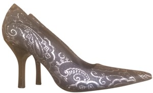 Via Spiga Silver And Grey Metallic Pumps