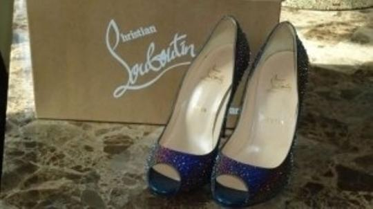 Christian Louboutin Blue Very Prive Encrusted with Swarovski Crystals Pumps Size US 8.5