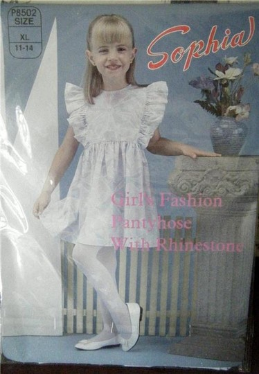 RHINESTONES BOW & BUTTERFLIES GIRL'S XL WHITE 3PR OPAQUE RHINESTONE FASHION TIGHTS PANTYHOSE BOWS BUTTERFLY Image 1