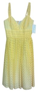 Shoshanna short dress Pale Lemon Yellow Eyelet Summer on Tradesy