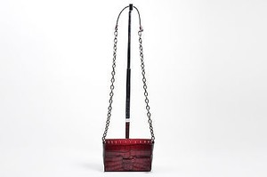 tomas maier Maroon Crocodile Embossed Leather Chain Shoulder Bag