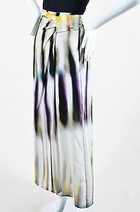 Escada Gray Multicolor Soft Maxi Skirt Multi-Color