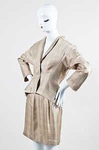 Thierry Mugler Vintage Thierry Mugler Cream Brown Silk Plaid Jacket And Skirt Set
