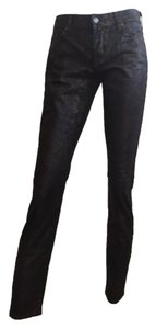 7 For All Mankind Brown Animal Print Skinny Jeans-Coated