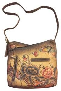 Biacci Leather Silver Gold Butterfly Flowers Paint Shoulder Purse Cross Body Bag