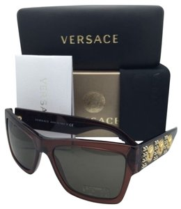 Versace New VERSACE Sunglasses VE 4289 5130/73 Transparent Brown & Gold Frames w/ Brown Lenses
