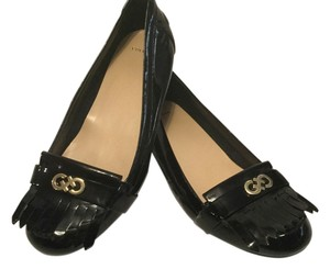 Cole Haan Tassels Gold Emblem Padded Insoles Black patent Flats