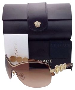 Versace New VERSACE Sunglasses VE 2146-B 1002/13 130 Gold & Light Brown Frame w/Brown Gradient Lens