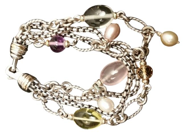 Item - Sterling Silver with Multi Color Stones Chain Bracelet