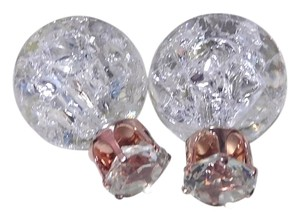 Other Double Sided Crystal Ball Stud Earrings White J1961