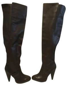 Zara High All Upper Brown leather pull on thigh Boots