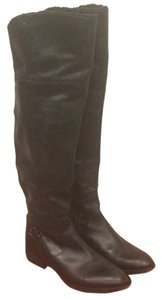 Ann Taylor LOFT Leather Thigh High Boot Flat Black Boots