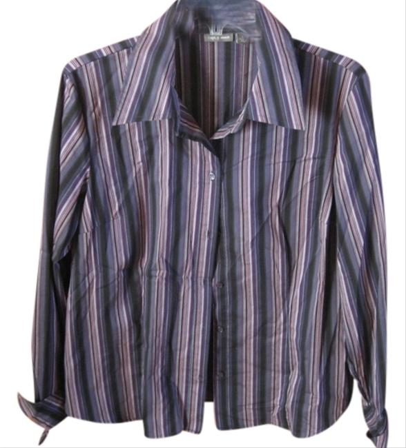 Apt. 9 Button Down Shirt Multi: Shades of Blue and Purple & Black