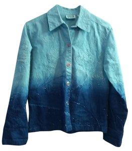 Chico's Embellished Embroidered Beaded Jean Denim Blue Green Jacket