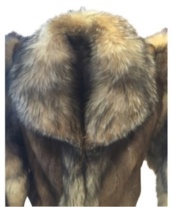 NEIMAN MARCUS AFFINITY REAL FUR LADY'S LONG COAT DARK BROWN Fur Coat