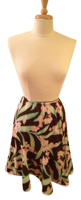 Item - Brown Pink and Green Floral New York Skirt Size 6 (S, 28)