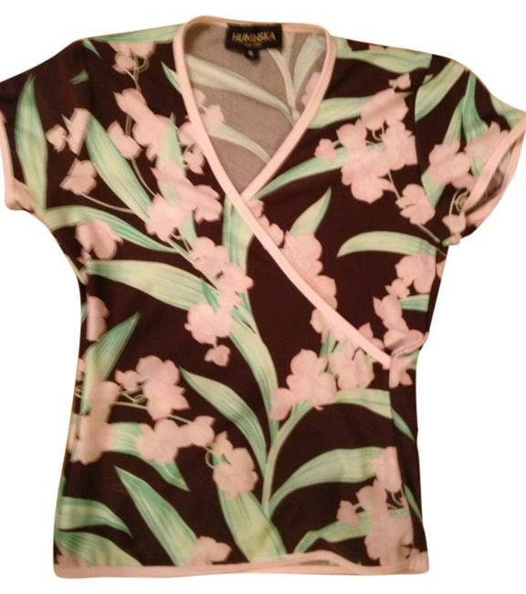Huminska New York T Shirt Brown, Pink and Green Floral
