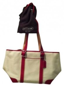 Coach Tote in Red and Light Beige