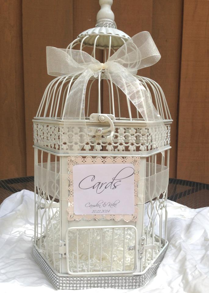 Wedding birdcage card holder wishing box money box card for How to decorate a money box