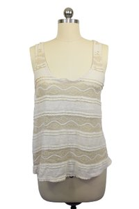 Sparkle & Fade Mesh Gauzy Top Ivory Gold
