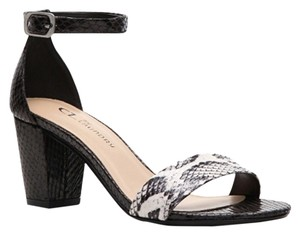 CL by Laundry Color-blocking Embossed Two-tone New Ankle Strap Open Toe Black, Snake Print Sandals