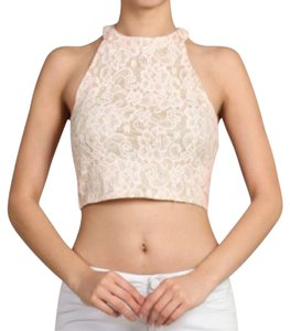 Crop Lace Peach Halter Top