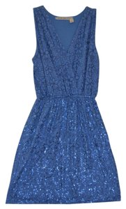 Chelsea & Violet short dress Blue Cotton Knit Sequins on Tradesy