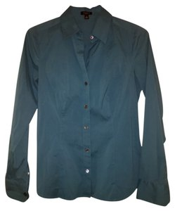 Ann Taylor Button Down Shirt Teal