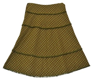 Cynthia Steffe Wool Earth Tones Green Bias Skirt brown/Green