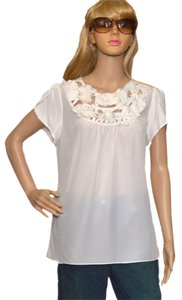 BCBG Top White Silk