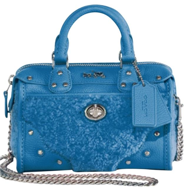 Coach Peacock Blue Leather and Shearling Satchel Coach Peacock Blue Leather and Shearling Satchel Image 1