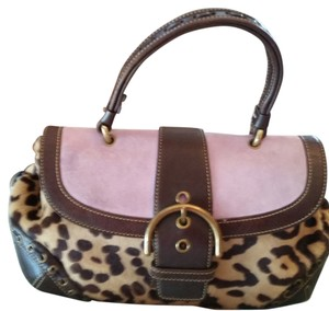 Coach Rare Vintage Satchel in Brown, Lilac, Animal Print