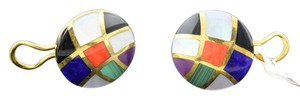 Asch Grossbardt Asch Grossbardt Multiple Stone Inlay Hand Crafted 14k Yellow Gold Earrings