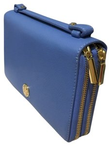 Tory Burch Tory Burch LANDON Large Travel Case Pebbled Leather Blue Dusk New With Tag