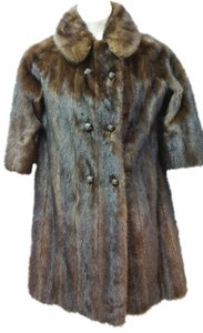 3/4-sleeves Mink Fur Coat