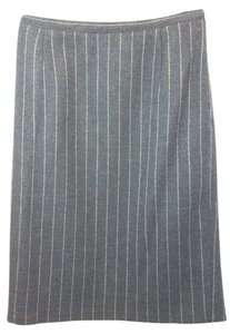 Valentino Wool Pencil Skirt GRAY/WHITE
