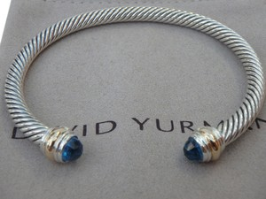 David Yurman 5mm sterling silver Classic Cable Bracelet 14k gold ends & blue topaz