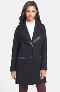 Vera Wang S820245 Womens Wool Cashmere Drop Shoulder Coat Black Jacket