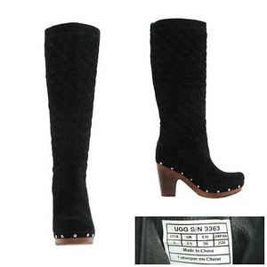 UGG Australia Arroyo 3363 Womens Suede Leather Weave Clog Tall Black Boots