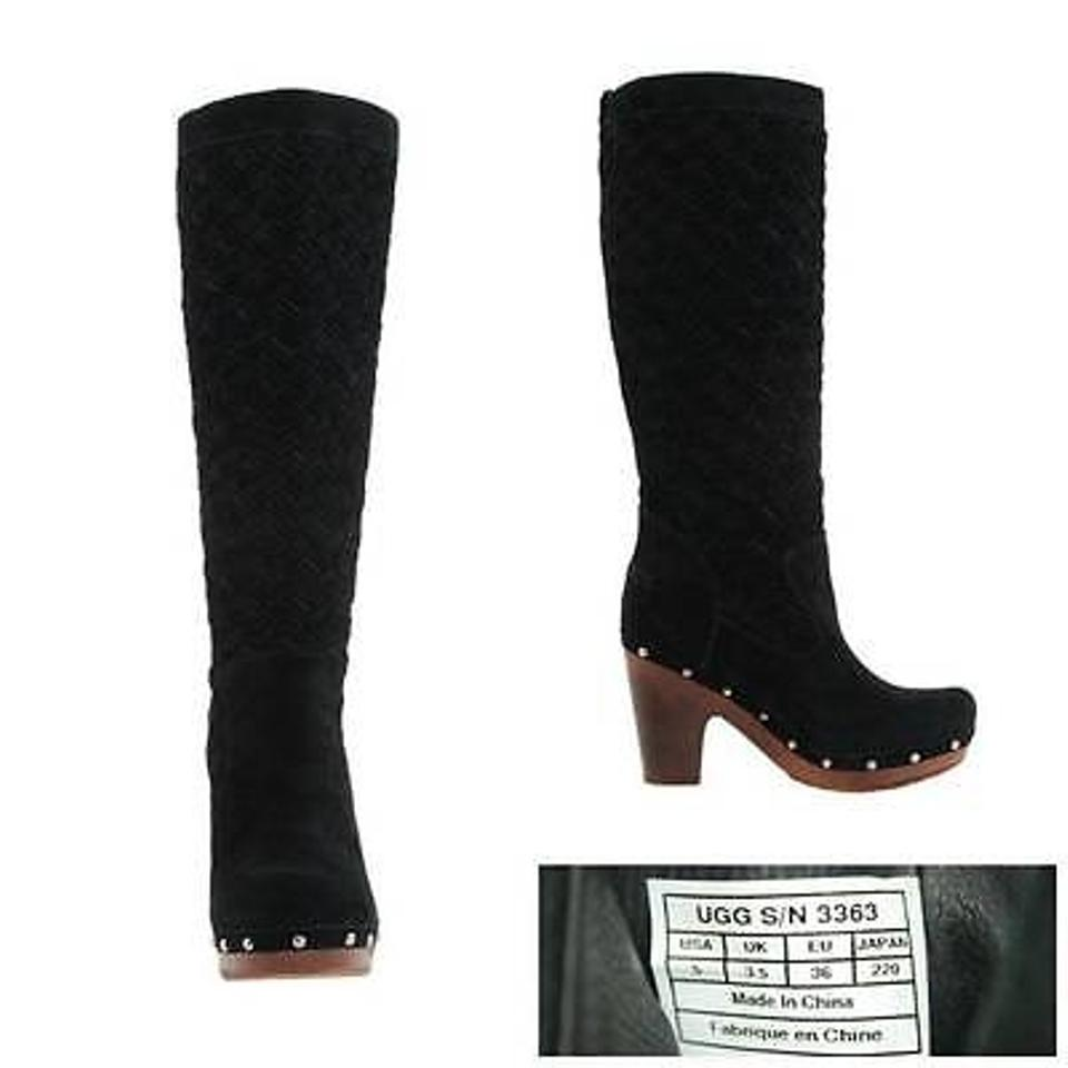 ab0be3ac8fd Ugg Australia Arroyo 3363 Womens Black Suede Leather Weave Clog Tall Boots