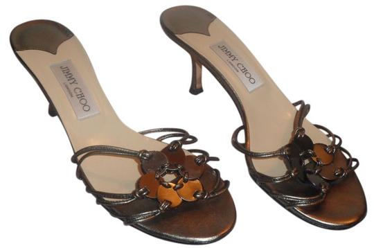 Jimmy Choo New Heel Lifts Leather Straps Silver Sandals