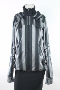Lululemon Lululemon Run Black Gray Striped Track And Field Jacket