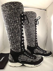 Chanel 14k White Tweed Black Boots
