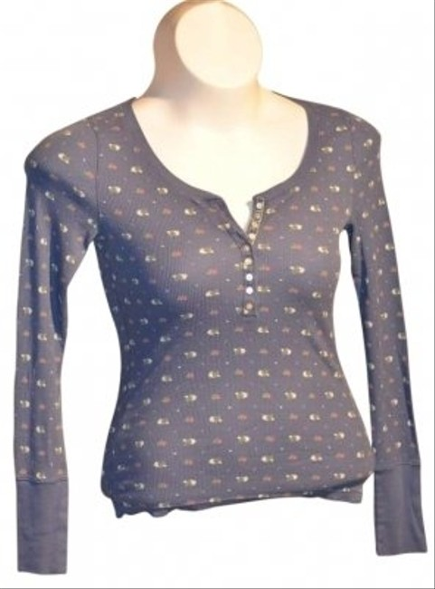 Aeropostale Stretch Long Sleeved Button-down Front Thermal Style Fabric With Pink White & Green Flowerrs T Shirt Blue