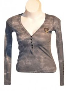 Billabong Button Front (5) V-neck Size S Color Logo On Front Left Side Also T Shirt Grey tie-dye