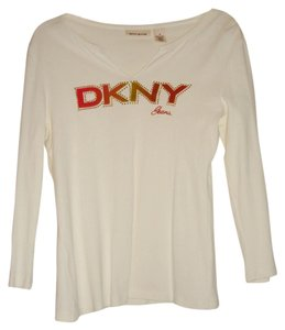 DKNY Dnky Jeans Long Sleeves Medium Cotton Top Cream