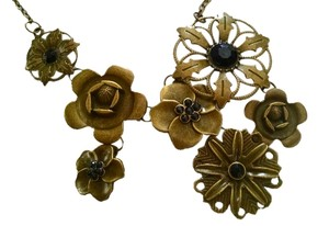 Other New Antiqued Gold and Black Flowers Bib Necklace J267