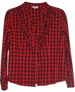 Other Checkered Button Up Cotton Blouse Small Button Down Shirt Red